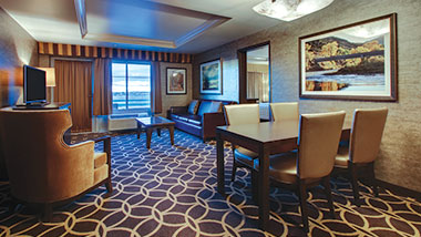 The sitting room in the balcony suite at Zia Park Casino, Hotel and Racetrack.