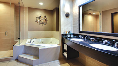 The garden tub and stand alone shower in a suite at Zia Park Casino, Hotel and Racetrack.